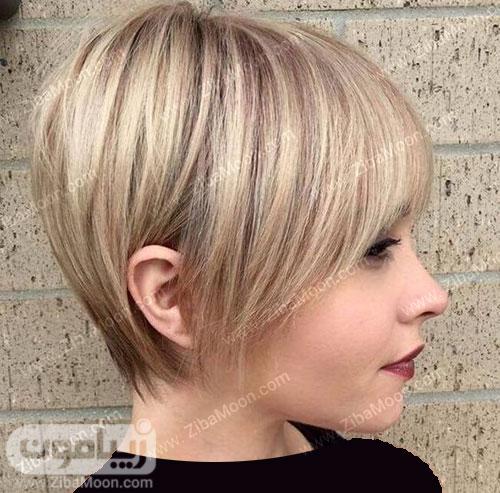 مدل مو کوتاه و شیک با رنگ بلوند دودی