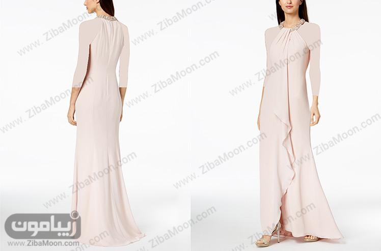 لباس مجلسی با یقه گرد کار شده
