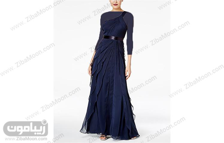 لباس مجلسی حریر سورمه ای رنگ