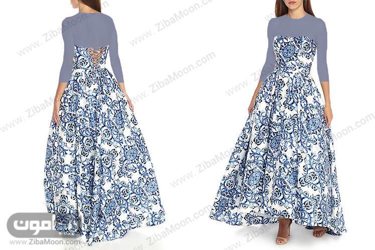 لباس مجلسی دکلته با طرح پارچه سنتی