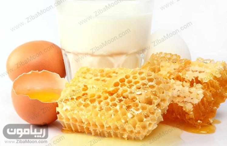 آب سیب زمینی و تخم مرغ و عسل