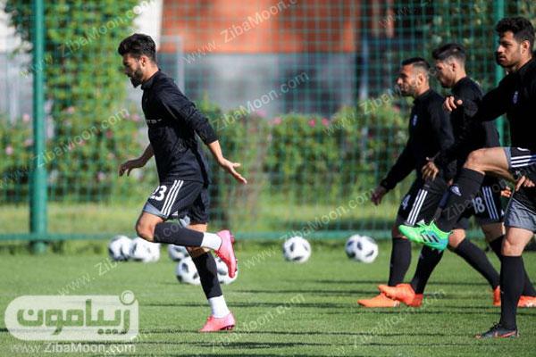 بازیکنان تیم ملی ایران در حال تمرین