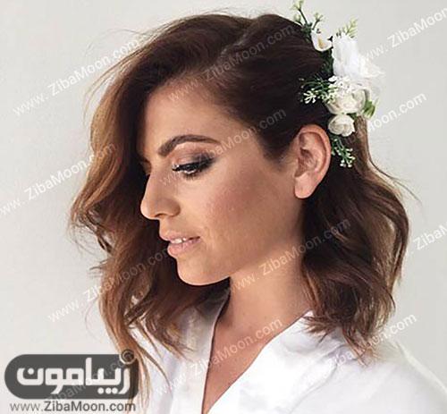 مدل مو کوتاه عروس با گلهای زیبا