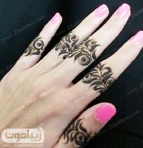 طرح حنا شیک روی انگشت