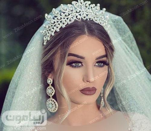 مدل مو عروس با تاج و تور