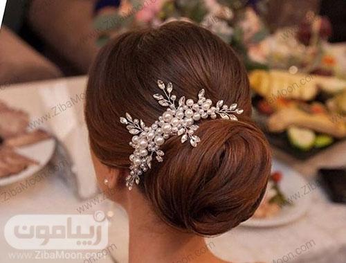 مدل مو عروس با اکسسوری مرواریدی