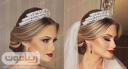 مدل مو عروس با تاج ظریف و درخشان