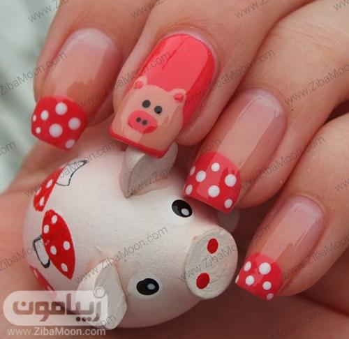 طراحی ناخن کارتونی به شکل خوک