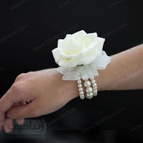 مچ بند گل عروس با مروارید و گل رز سفید