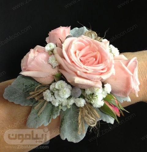 مچ بند گل عروس با گل رز صورتی