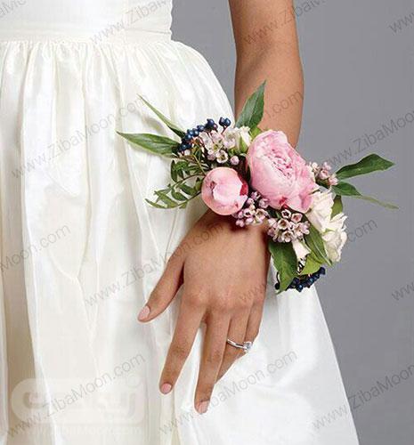 مچ بند گل عروس با گل صدتومانی صورتی