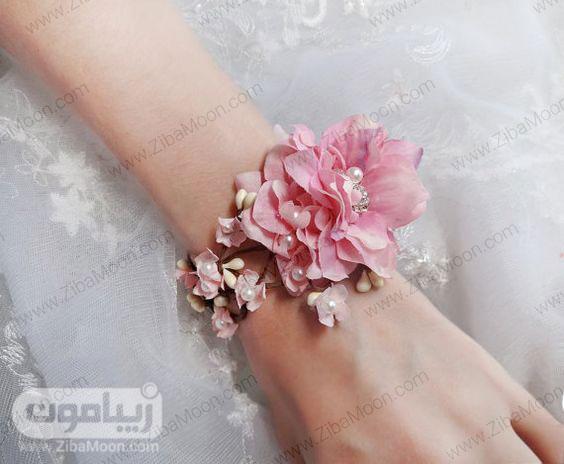مچ بند گل عروس با گل های پارچه ای و مروارید