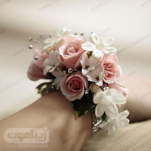 مچ بند گل عروس با گل یاس و گل رز صورتی