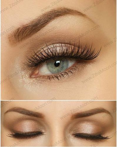 آرایش چشم با سایه قهوه ای و بژ