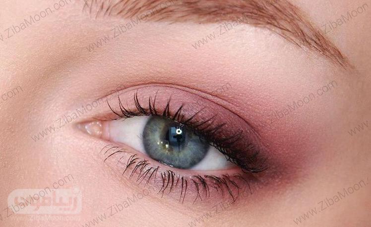 آرایش چشم لایت و ساده با سایه صورتی