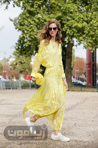 بلوز و دامن زرد رنگ