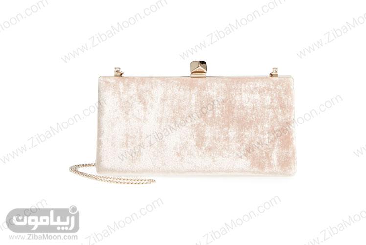 کیف عروس ساتن صورتی روشن چرک با قلاب طلایی
