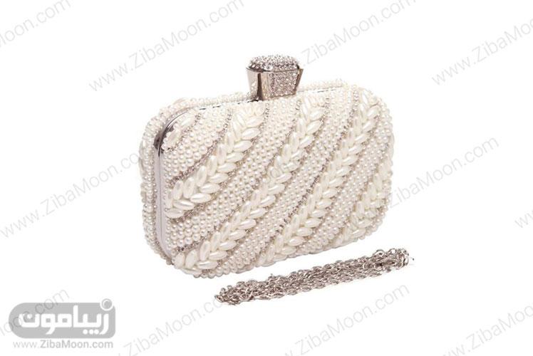 کیف عروس کار شده با مرواریدهای گندمی و گرد