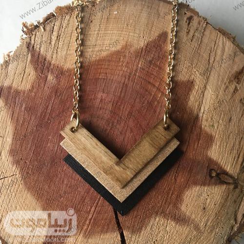 گردنبند چوبی سه رنگ با زنجیر بلند