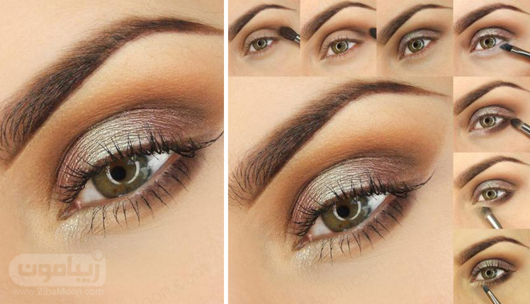 آموزش آرایش چشم قهوه ای کاراملی