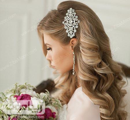 مدل مو باز برای عروس با اکسسوری زیبا