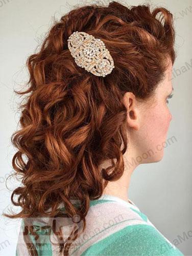 شینیون مو باز قرمز ساده