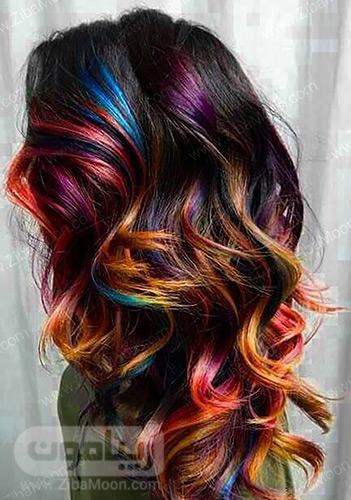 هایلایت رنگی روی موی مشکی