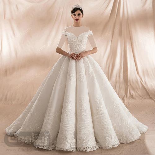 لباس عروس با دامن پرنسسی پف