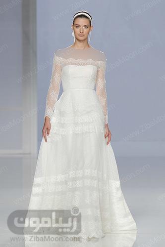 لباس عروس با گیپور ظریف
