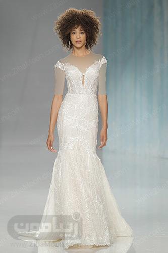 لباس عروس یقه قایقی دم ماهی