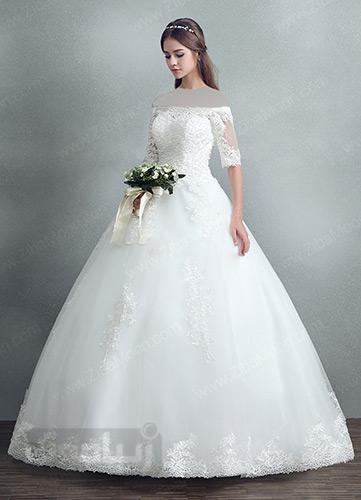 لباس عروس با یقه قایقی و آستین کوتاه