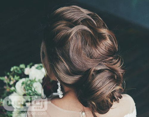 شینیون مو عروس جدید و شیک با موهای مشکی و بلند