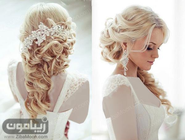 شینیون نیمه باز عروس با اکسسوری زیبا و رنگ مو بلوند