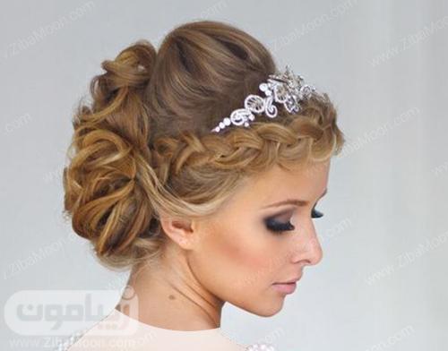 مل شینیون عروس با تاج فلزی و بافت مو