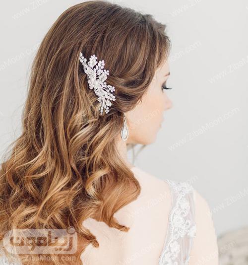 مدل مو باز با اکسسوری زیبا برای عروس خانوم های مو بلند