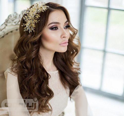 مدل مو باز عروس با اکسسوری زیبا و درخشان