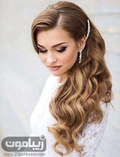 مدل مو بلند و باز عروس با اکسسوری ظریف