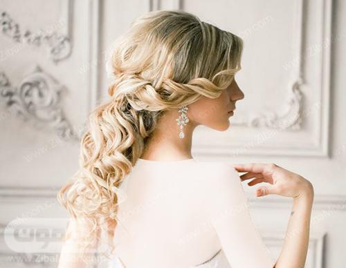 مدل مو موج دار و پیچ خورده برای عروس