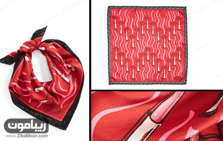 روسری ابریشمی قرمز با طراحی رژ لب