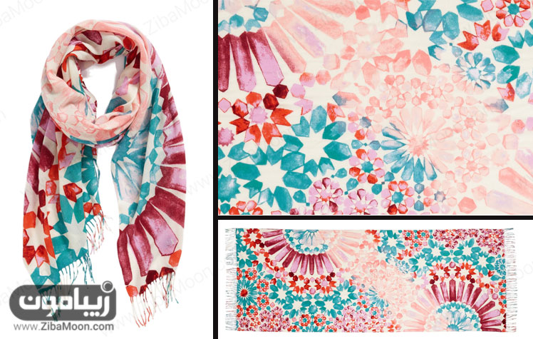 شال آبرنگی طرح سنتی صورتی آبی