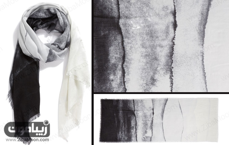 شال ابریشم عاجی مشکی خاکستری