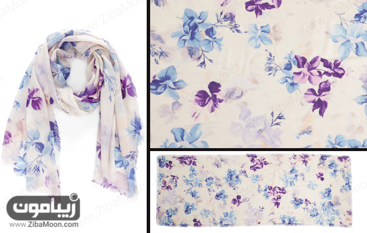 شال طرح ابرنگی گلدار با گل های بنفش و آبی