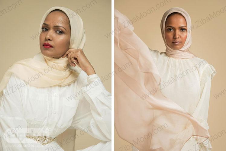 حجاب با شال عاجی و نود
