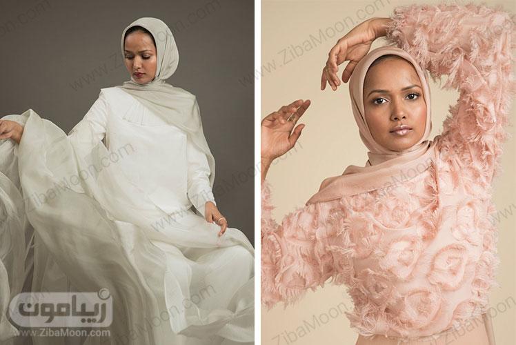 حجاب با شال هلویی و شیری