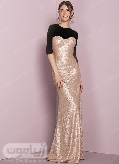 لباس دکلته طلایی برای ساقدوش عروس