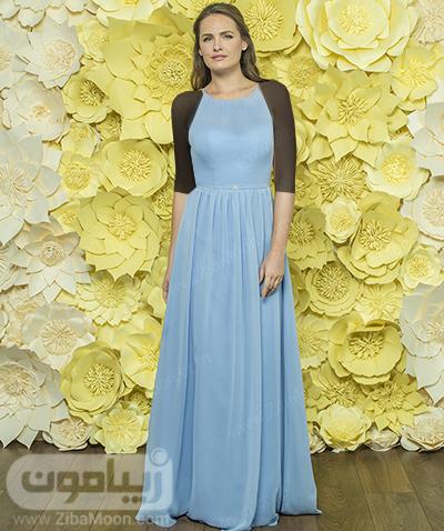 لباس حریری آبی آسمانی برای ساقدوش عروس