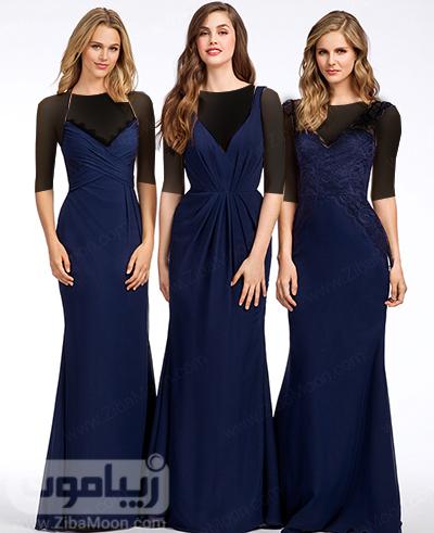 لباس ساقدوش عروس با رنگ آبی تیره