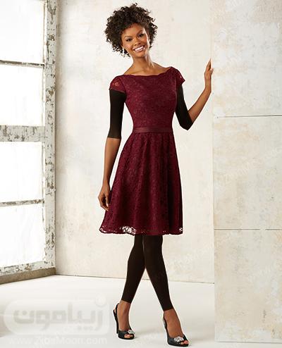 لباس مجلسی کوتاه گیپوری با رنگ زرشکی