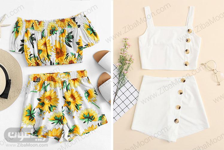 ست لباس با گل آفتابگردان و لباس شیری