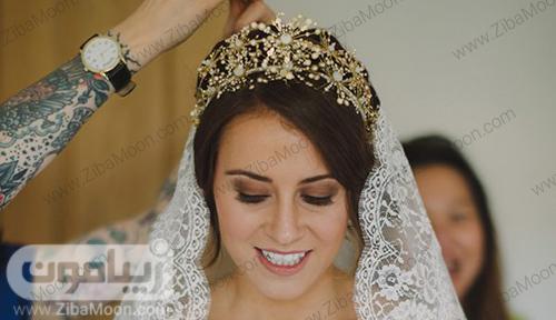 تاج عروس طلایی و کریستالی